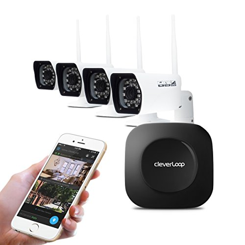 Cleverloop Wi-Fi Enabled Premium Protective Security System – 4 Outdoor Wi-fi Cameras – Cloud and Video Recording Backup Included No Monthly Fees by CleverLoop
