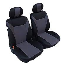 flexzon 1+1 Universal Grey-Black Front Seat Covers For CARGO VAN TRUCK DODGE FREIGHTLINER SPRINTER VW TRANSPORTER T4 T5 FORD TRANSIT RAM PROMASTER NISSAN NV