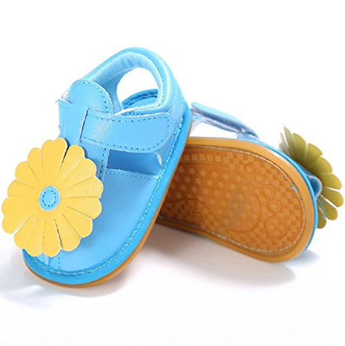 Bebé Prewalker Zapatos Auxma Bebé Niño Niñas PU Cuero Flor Suela Suela Plana Sandalias Zapatos para 3-6 6-12 12-18 meses Azul