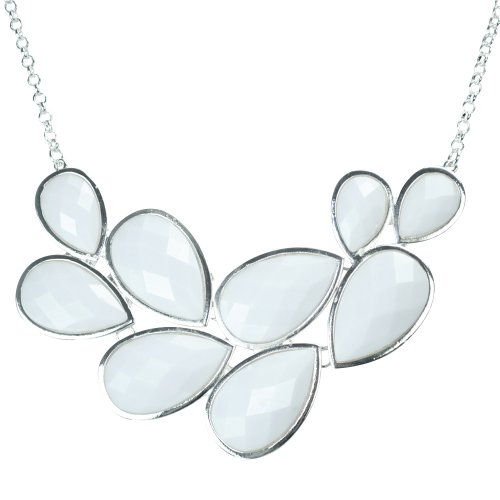Patriotic Flying Colors - JANE STONE Pure White Bubble Bib Necklace Fancy Chunky Necklace Fashion Jewelry Statement Necklace Evening Party Jewellery(Fn0564-Pure White)