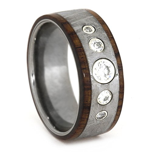 Forever Classic Moissanite with Gibeon Meteorite, Rosewood 8.5mm Comfort-Fit Titanium Band, Size 6.5 by The Men's Jewelry Store (Unisex Jewelry)