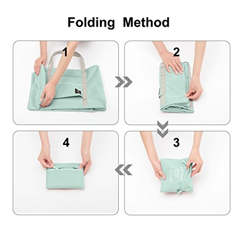 25L Travel Foldable Duffel Bag for Women & Men, Waterproof Lightweight travel Luggage bag for Sports, Gym, Vacation(II-Mint Green) by FUNFEL (Image #4)