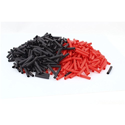 (Copapa 2:1 Polyolefin Heat Shrink Tubing Heat Shrink Wrap 400pcs Shrinkable Tube, 45mm, 4mm Diameter Red and Black (400PCS))