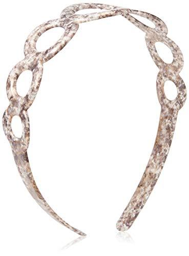 Caravan Hand Painted Open Circle Headband, White Marble