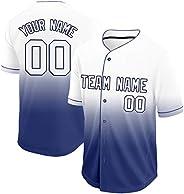 Custom Button Down Baseball Jerseys for Kids Men Women, Gradient Jerseys Shirts for Team,Player
