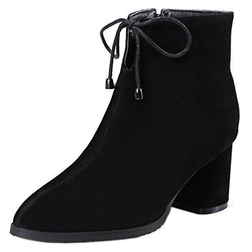 KemeKiss Size Block Boots Heel Classical Mid Extra Black Women Bootie rf1TxqrR