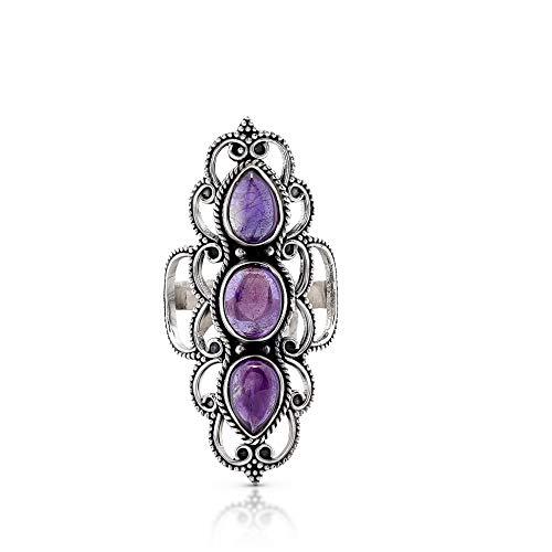 - Koral Jewelry Amethyst 3 Stones Ethnic Vintge Gipsy Multi Stone Ring 925 Sterling Silver Vintage Tribal Gipsy Boho Chic (9)