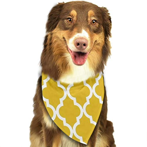 HGFR Mustard Yellow Moroccan Pattern Customized Dog Headscarf Bright Coloured Scarfs Cute Triangle Bibs Accessories for Pet Dogs ()