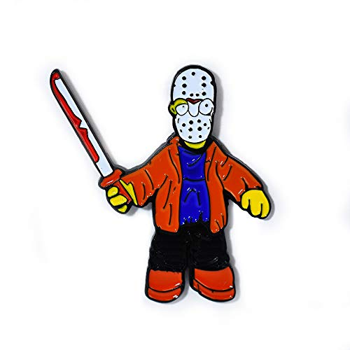 Homer Simpson Jason Voorhees Hockey Mask Machete Horror Pin Collectible Lapel Hat Pin Pendant -