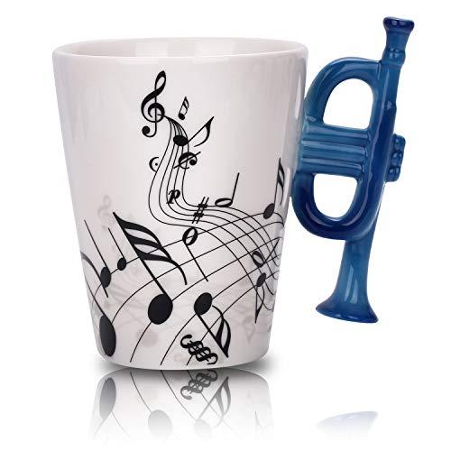 - Trumpet Music Unique Handle Art Musical Notes Holds Tea Coffee Milk Ceramic Mug Cup 12 Oz Best Gift,Black