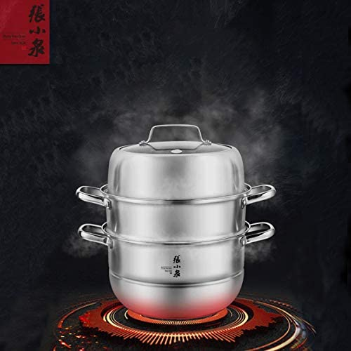 41BVeXiNC L. AC Zhang Xiao Quan Food Steamer Stainless Steel 3 Tier Steamer Pot with Handles on Both Sides, Boiler Pot with Tempered Glass Lid, Work with Gas, Electric, Grill Stove Top,28CM    Product Description