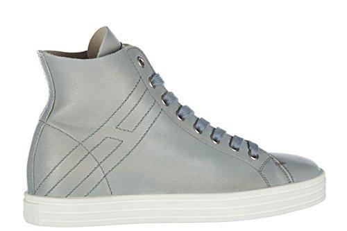 Hogan Rebel Scarpe Sneakers Alte Donna in Pelle Nuove r182 Viola