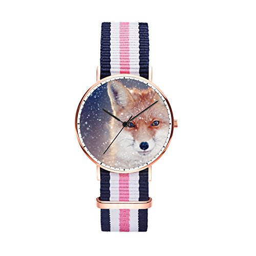 SunbirdsEast Snow Fox Watch Nylon Band for Women 36mm Analog Quartz Wrist Rose Gold Unisex Stainless Steel Children Nylon Multi-Color Striped Band Watch -