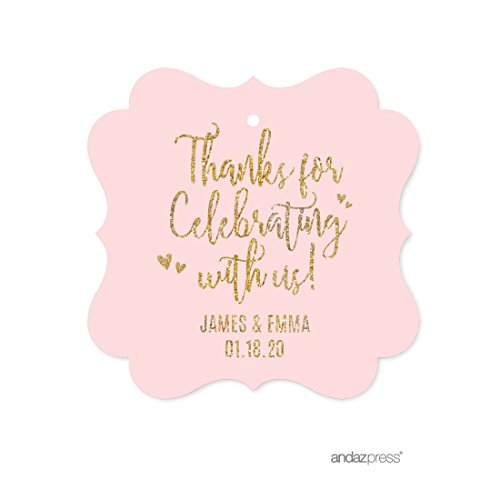 Andaz Press Blush Pink Gold Glitter Print Wedding Collection, Personalized Fancy Frame Gift Tags, Thank You for Celebrating With Us, 24-Pack, Custom Name