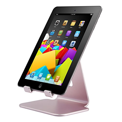 Skoloo [Fat Fooot] Stable Large Syn-Charge Desk Desktop Mobile Cell Phone Holder Tablet Stand Cradle Mount for Apple iPad / mini iPhone Cellphone Smartphone E-reader iPod, Aluminum Alloy / Rose Gold