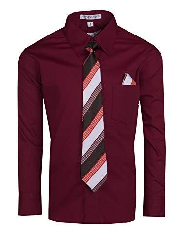 Tuxgear Boys Long Sleeve Button Up Dress Shirt with Necktie, Burgundy, Youth 16