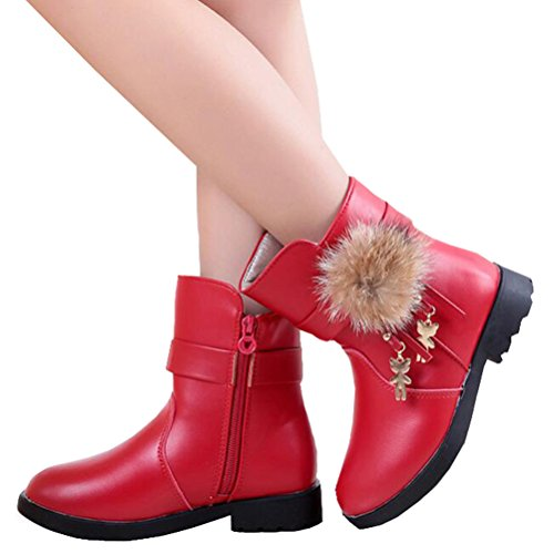 Baby Girls Winter Snow Boots with Bowknot (Red) - 6