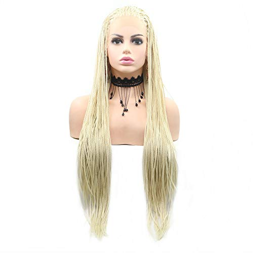 Natural Hairline 613# Pastel Blonde Wigs Long Hair Ladies Party Holidays Festival Afro America Box Braided Wigs for Women Makeup Braids Blonde Lace Front Wig -
