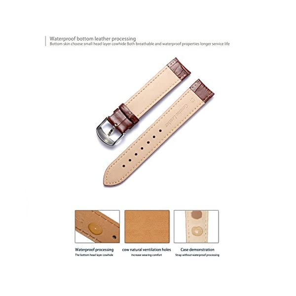 BINLUN Genuine Leather Replacement Watch Band (12mm,14mm,16mm,17mm,18mm,19mm,20mm,21mm,22mm,23mm,24mm)