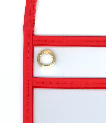StoreSMART - 9 x 12 inches - Open Short - Red Single Pocket with Hanging Strap - Red Rigid Vinyl Sewn Pocket - 10-Pack - Dry Erase Surface - TROH29R-10