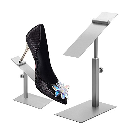 Nipole Modern Stainless Steel Adjustable Shoes Display Stands Rack in Shopping Mall (Brushed Silver)