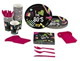 1980s Party Supplies – Serves 24 – Includes Plates, Knives, Spoons, Forks, Cups and Napkins. Perfect Birthday Party Pack for 80s Retro Themed Parties, 80s Pattern