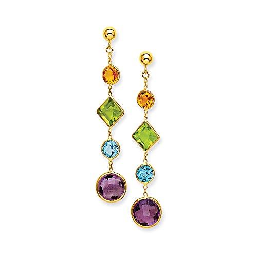 Yellow Gold Muti-Gemstone Post Earrings (14k Muti Gemstone)