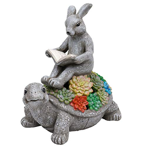 TERESA'S COLLECTIONS Garden Statue, Rabbit Sitting on Tortoise Reading Book Figurine with Solar Lights, Polyresin Garden Figurines for Outdoor Decoration (Outdoor Paradise)