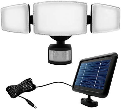 HIGUNE 1000 Lumens Black Three-Heads Solar Security Light, Outdoor Motion Sensor Light, Wide Range, Adjustable, Motion Sensor Waterproof Security Light
