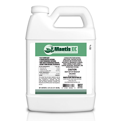Mantis EC Botanical Insecticide Miticide Concentrate - For Organic Use, OMRI Listed, Insect and Spider Mite Killer for Indoor, Outdoor, Garden, Hydroponic, and Greenhouse Growers - 32 fl oz