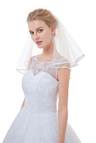 Sunny zeyu Cute Short Veils 2 Tiers Ribbon Edge For Pre-wedding festivities (Wedding Shorts)