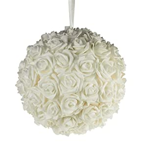 Homeford Firefly Imports Soft Touch Foam Kissing Ball Wedding Centerpiece, 12-Inch, White