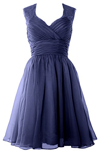 MACloth Chiffon Elegant Wedding Vintage Formal Party Gown Short Dress Dunkelmarine Bridesmaid OUwqPOxr