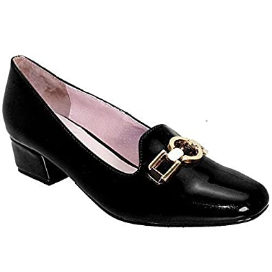 54553b92174 SAPPHIRE Women s Patent Slip On Gold Buckle Ladies Smart Chunky Heel Shoes  Loafers  Amazon.co.uk  Shoes   Bags