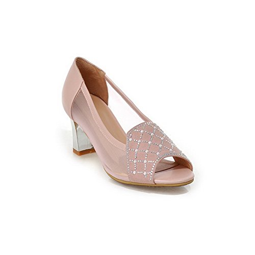 AllhqFashion Women's Soft Material Pull-on Open Toe High-Heels Solid Sandals Pink UHnkTiA2