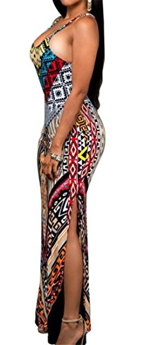 Printing Cromoncent African Spaghetti Women s Maxi Strap Dashiki Backless 1 Dress 6aqfIaxwr