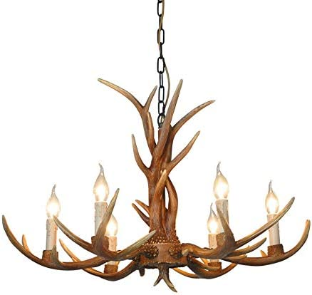 Deer Horn Antler Pendant Lamp Deer Horn Resin Chandelier Hanging Lamp Rural Antler Ceiling Fixture Light Retro Style Lights US Stock 6 Head