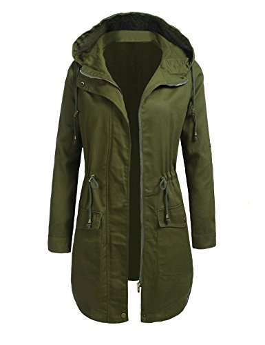 Zeagoo Women Ladies Hooded Lightweight Roll Up Sleeves Anorak Jacket Parka Coat Windbreaker With Drawstrings and 2 Pockets Army Green