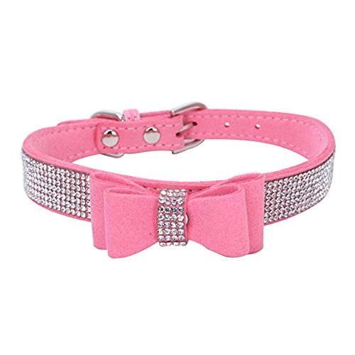 Jingon Crystal Dog Collar Cute Bow Rhinestone Dog Collar Shiny Suede cat and Dog Collar Durable Dog Collar Suitable for Small and Medium-Sized Dog Collars (XL, Pink)