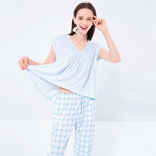 di a cotone ansima Colore semplice estate punto Il onda manicotto Blu breve di domestico Blu di L vestito servizio del dimensioni il qz88wFt