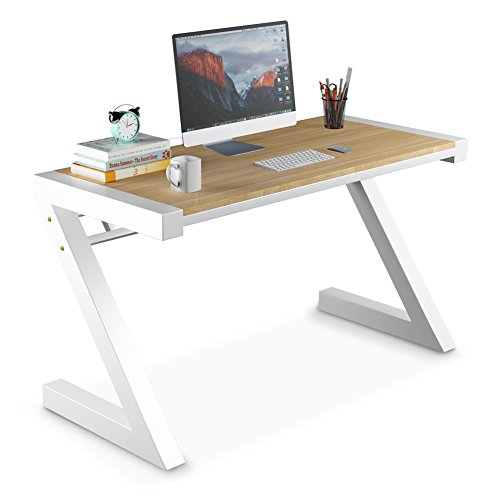 Computer Desk, Tribesigns Z-Shaped Office Desk & Workstation with Metal Legs, Works as Writing Desk, Study Table or Computer table, Simple Modern Style Perfect For Home or Office (55'' Walnut)