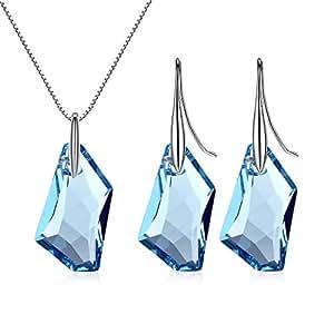 GoSparking Azul Aguamarina de cristal colgante de plata de ley pendientes fijó con el cristal austríaco para las mujeres