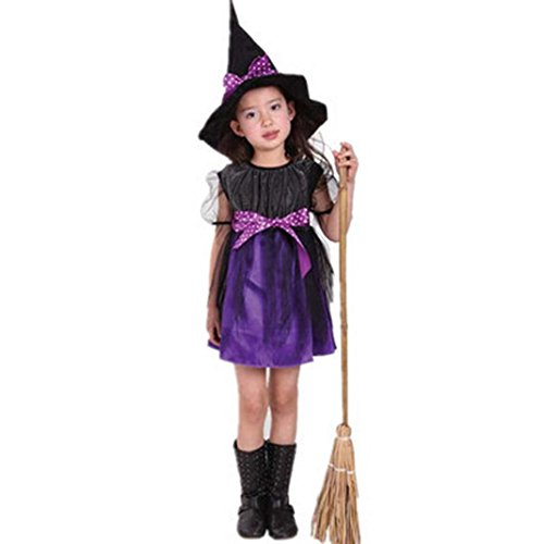 Dream Room Toddler Kids Baby Girls Witch Dress Up Halloween Children Performing Clothes Costume Dress Party Dresses+Witch Hat (2-3T/90, Purple)
