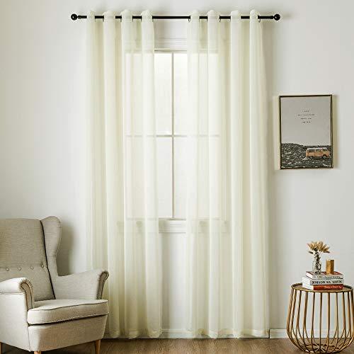 MIULEE 2 Panels Beige Semi Sheer Window Curtains Elegant Grommet Top Window Voile Panels/Drapes/Treatment Linen Textured Panels for Bedroom Living Room (54X90 Inches)