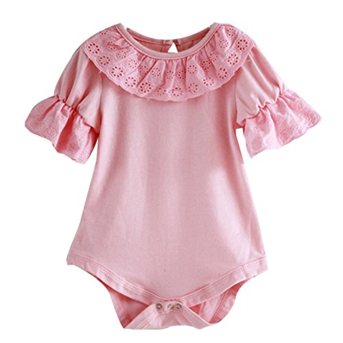 [Baby Girls Short Sleeve Solid Color Ruffle Lace Bodysuit (70(0-6M), Pink)] (Onesie Suit)