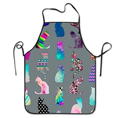 COLOMAKE Waterproof Cooking Alot of Cats Apron Personalized Chef Apron for Women Men Kitchen Bib Apron Ideal for Dishwashing Cleaning Painting