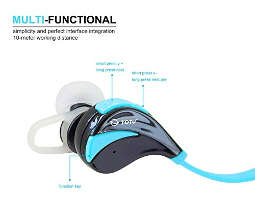 Take Bluetooth Headphones, TOTU Wireless Bluetooth Stereo Earbuds Sweatproof Running Headset In-Ear Sports Headphones with Microphone - Blue occupation