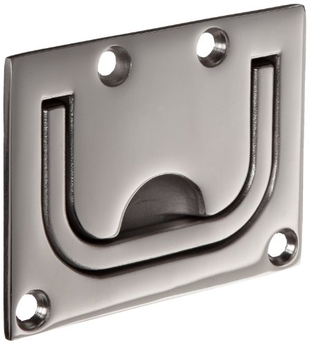 Sugatsune 316 Stainless Steel Ring Pull Handle, Polished Finish, Mounted Plate, Rectangular Grip, 2-9/16'' Center To Center, 1-21/32'' Cutout Height (Pack of 1) by LAMP by Sugatsune