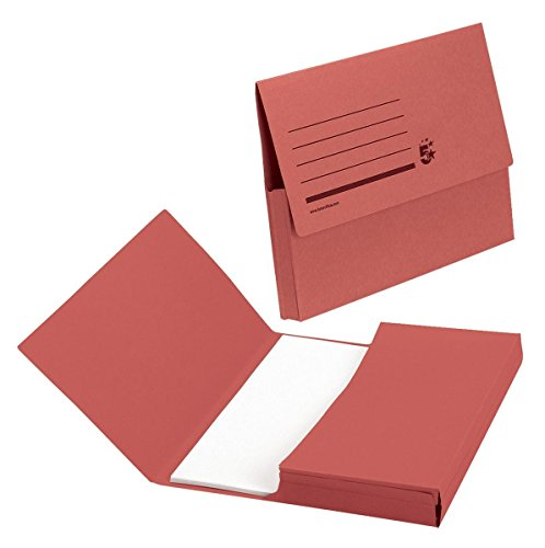 5 Star Document Wallet Half Flap 285gsm Capacity 32mm Foolscap Red [Pack 50]