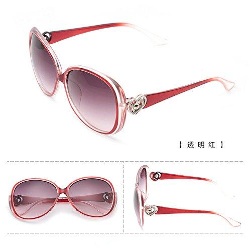 le visage rond korean personnalité star des lunettes des lunettes de soleil de marée des lunettes de soleil mesdames les yeux nouveau cycle Transparent red (cloth)